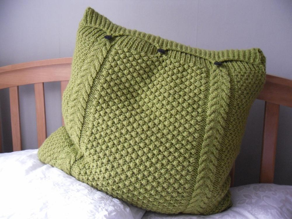 Large Lime Green Pillow / Cushion Cover Hand Knitted Cable Bobbles 3 Button F...