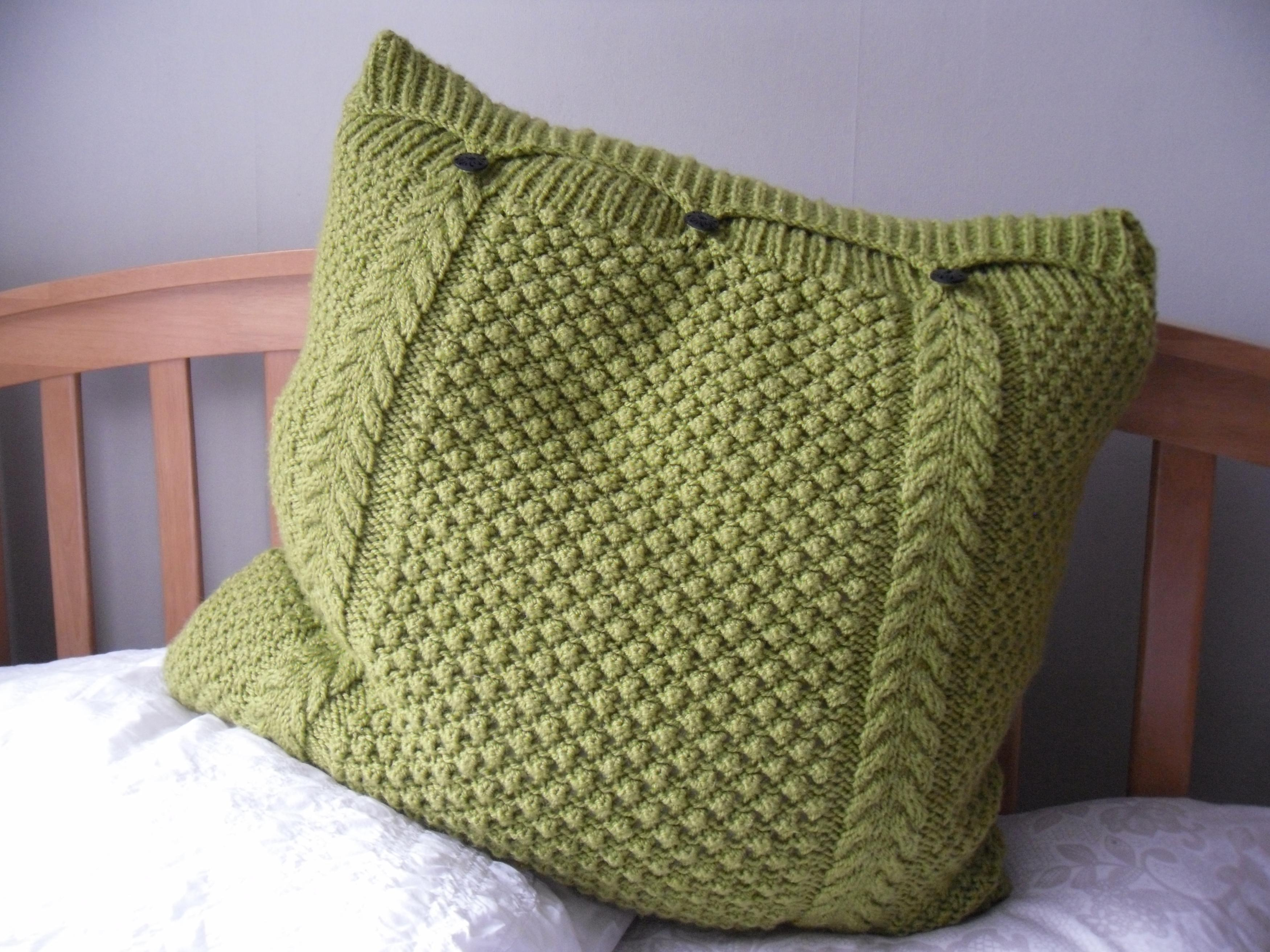 Free Boot Cuff Patterns Knit : Large Lime Green Pillow / Cushion Cover Hand Knitted Cable Bobbles 3 Button F...
